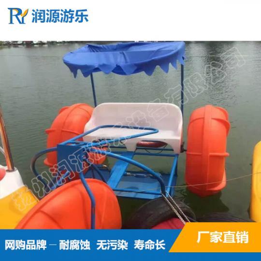 新颖海上耐腐双人脚踏船/景区休闲嬉戏三轮水上自行车